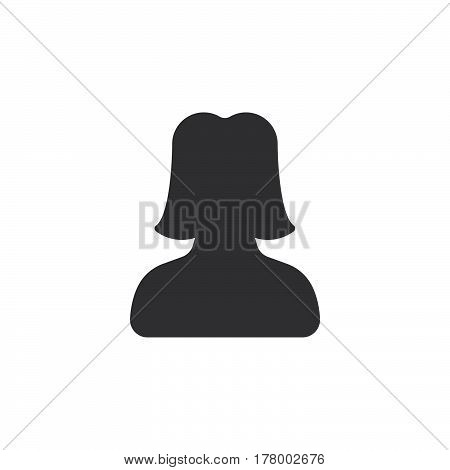 User account female icon vector filled flat sign solid pictogram isolated on white. Symbol logo illustration