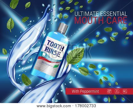 Mouth rinse ads. Vector 3d Illustration with Mouth rinse in bottle and mints leaves. Poster with product on dark background.