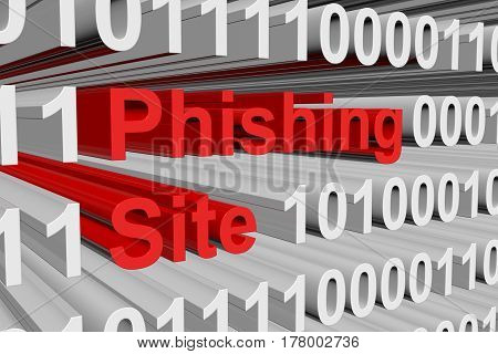 Phishing Site is presented in the form of binary code 3d illustration