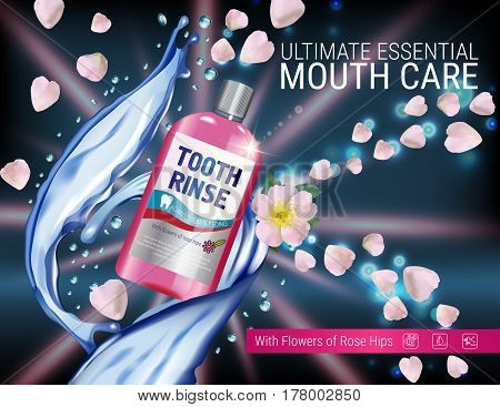 Mouth rinse ads. Vector 3d Illustration with Mouth rinse in bottle and rosehip flower. Poster with product on dark background.