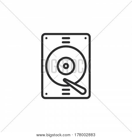 Hard drive line icon outline vector sign linear pictogram isolated on white. Symbol logo illustration