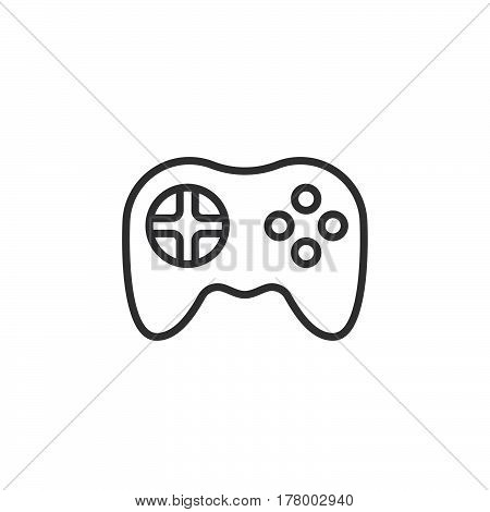 Video game symbol. Gamepad line icon outline vector sign linear pictogram isolated on white. Logo illustration