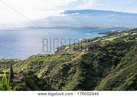 The coast along Kahului Bay in Maui, Hawaii