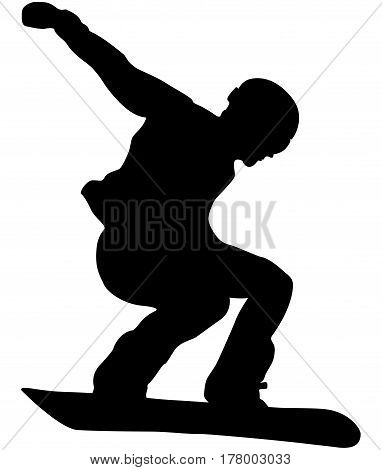 male sport athlete snowboarder jump black silhouette
