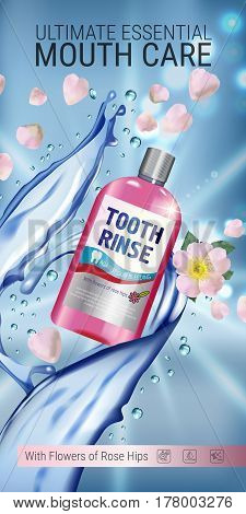 Mouth rinse ads. Vector 3d Illustration with Mouth rinse in bottle and rosehip flower. Vertical banner with product on blue background.