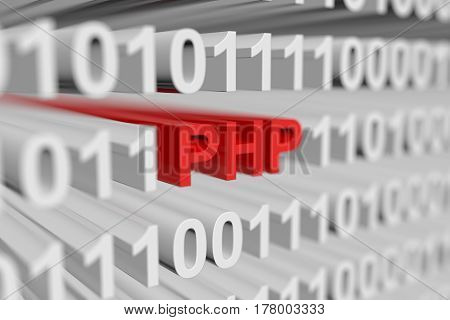 PHP is represented as a binary code with blurred background 3d illustration
