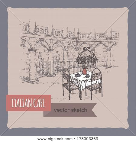 Italian street cafe hand drawn sketch. Great for coffee, restaurant, cafe ads, travel brochures, labels.