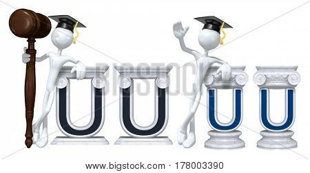 Education Lawyer Leaning On A Letter U The Original 3D Character Illustration