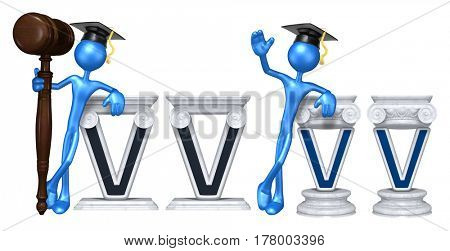 Education Lawyer Leaning On A Letter V The Original 3D Character Illustration