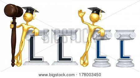 Education Lawyer Leaning On A Letter L The Original 3D Character Illustration
