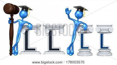 Education Lawyer Leaning On A Letter L he Original 3D Character Illustration
