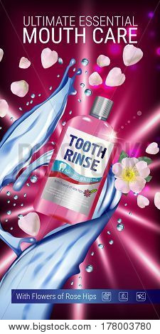 Mouth rinse ads. Vector 3d Illustration with Mouth rinse in bottle and rosehip flower. Vertical banner with product on red background.