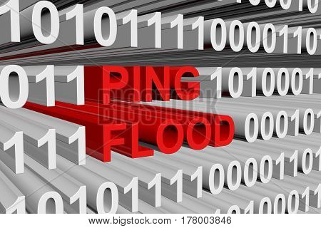 ping flood is presented in the form of binary code 3d illustration