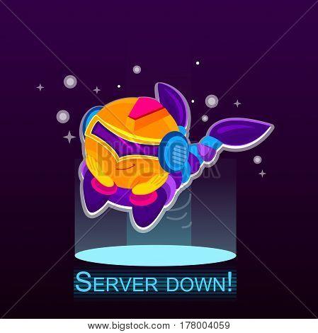 character Server down. Chatbot vector illustration. Thumbs up, chatbot or chatbot