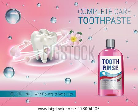 Mouth rinse ads. Vector 3d Illustration with Mouth rinse in bottle and rosehip flower. Poster with product on pink background.