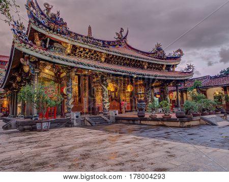 Taipei Taiwan - October 12 2016: Taoist Baoan Temple in Taipei city