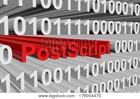 PostScript in the form of binary code, 3D illustration