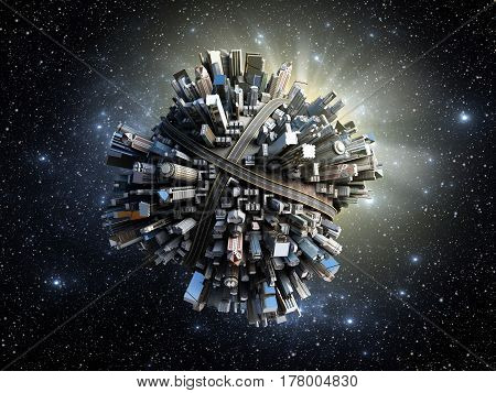 Megalopolis Aerial View 3D Render Image In Space