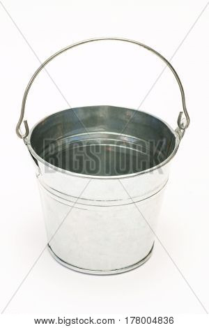 Metal pail Bucket on a white background