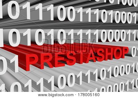PRESTASHOP is presented in the form of binary code 3d illustration