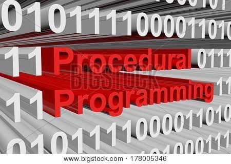 Procedural Programming is presented in the form of binary code 3d illustration