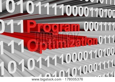Program Optimization is presented in the form of binary code 3d illustration