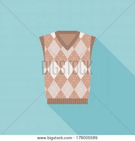 brown argyle male's knitted vest icon, flat design with long shadow