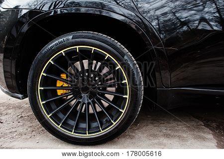Kiev, Ukraine - March 22, 2017: Black Bmw X6 M Performance Wheel.