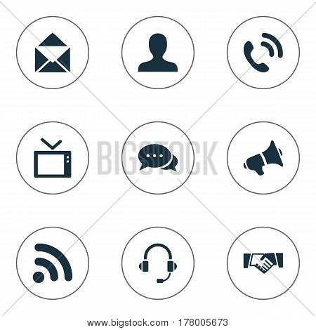 Vector Illustration Set Of Simple Network Icons. Elements Handset, Member, Letter Synonyms Talking, Staff And Signal.
