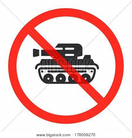 Tank icon in prohibition red circle No war ban sign forbidden symbol. Vector illustration isolated on white