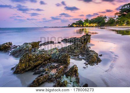 Long Exposure of Sunset at the sea Suan Wang Kaew Rayong Thailand