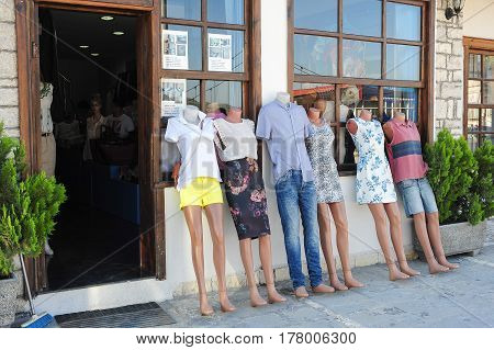 Berat, Albania - 5 July 2014: Fashion mannequins of a clothing shop at Berat on Albania