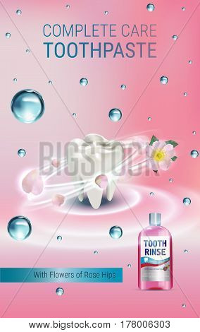 Mouth rinse ads. Vector 3d Illustration with Mouth rinse in bottle and rosehip flower. Vertical Banner with product on pink background.