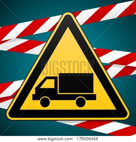 Caution - danger. Beware of the Car. Sign of the safety and warning bands. Vector illustration.