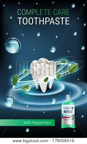 Mouth rinse ads. Vector 3d Illustration with Mouth rinse in bottle and mints leaves.Vertical banner with product on dark background.