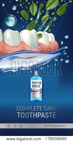 Mouth rinse ads. Vector 3d Illustration with Mouth rinse in bottle and mints leaves. Vertical banner with product on blue background.