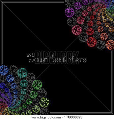 Colorful Templates for Text Placard Cover. Abstract Frame with Colored Whirling Circles on Black Background.