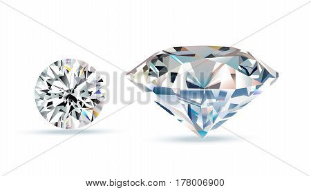 Diamond crystals. Vector illustration of realistic brilliance on white background.