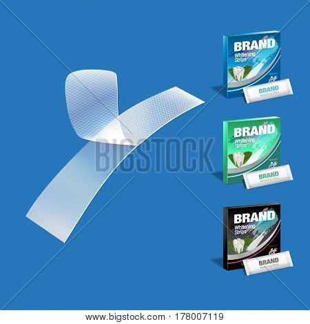 Professional Whitening Stripes in different colors of packages. Vector illustration of realistic packages of Whitening Stripes on white background.