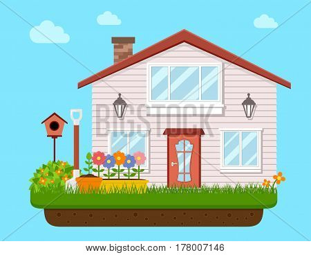 house backyard with garden flower. vector illustration for landscaping or garden work.