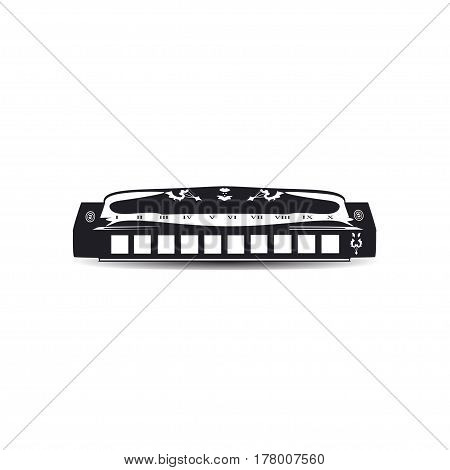 Vector illustration of black and white harmonica isolated. French harp mouth organ in flat style.