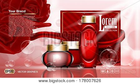 Cosmetic ads template, moisturizing lotions set cover mockup. Red roses flowers fragrance. Dazzling effect background. Cream, spray bottle, tube. 3D Realistic Vector illustration
