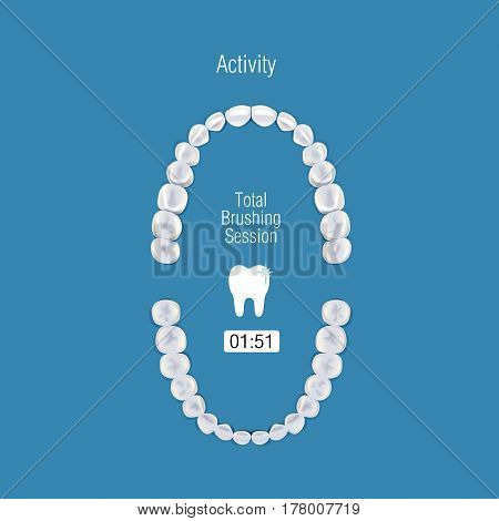 Orthodontist human tooth anatomy. Vector illustration of realistic chewing surface of teeth upper and lower jaw on blue background.