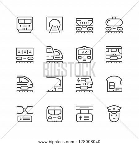 Set line icons of railroad isolated on white. Vector illustration