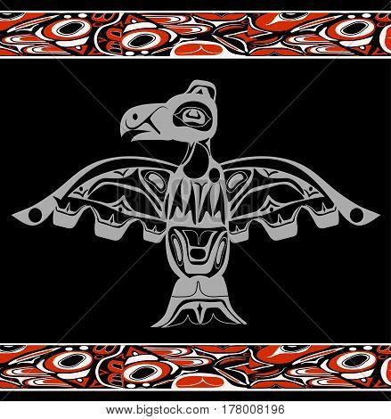 totem bird indigenous art stylization on black background with native ornament