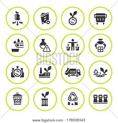 Set round icons of recycling isolated on white. Vector illustration