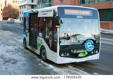 QUEBEC CITY - JAN. 22, 2010: Free public transportation ecolobus in Quebec City, Canada.