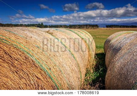 autumn landscape with haystack at the farm photo