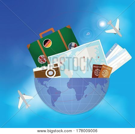 Travel Around The World. Vector