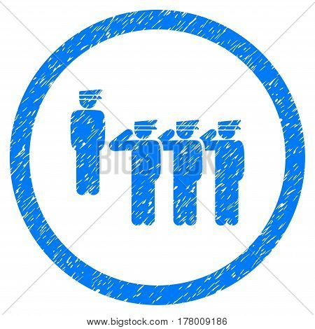 Army Squad grainy textured icon inside circle for overlay watermark stamps. Flat symbol with dirty texture. Circled dotted vector blue ink rubber seal stamp with grunge design on a white background.